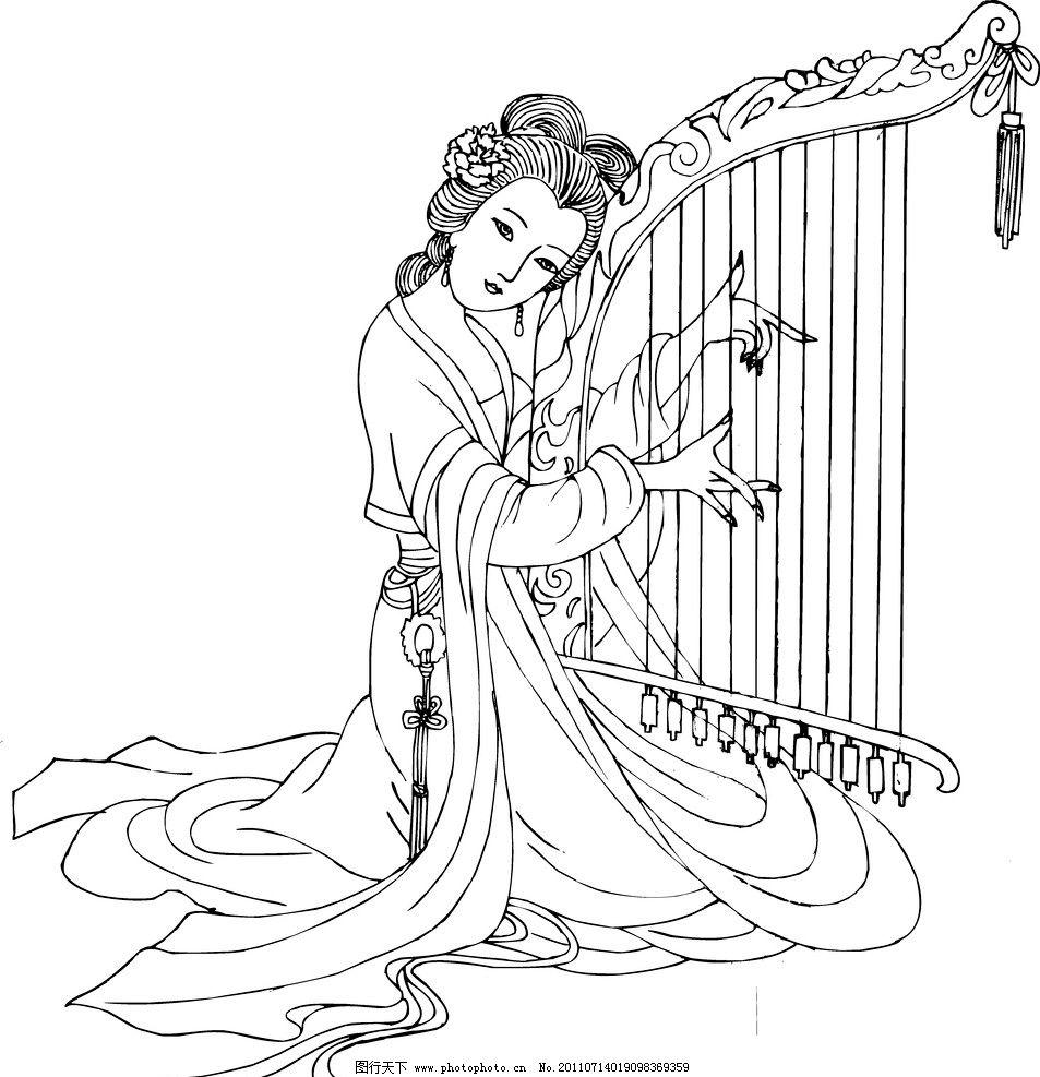 原创 摹工笔美女白描线稿 白描 线稿 工笔美女 弹琴 美女 动物 情景画