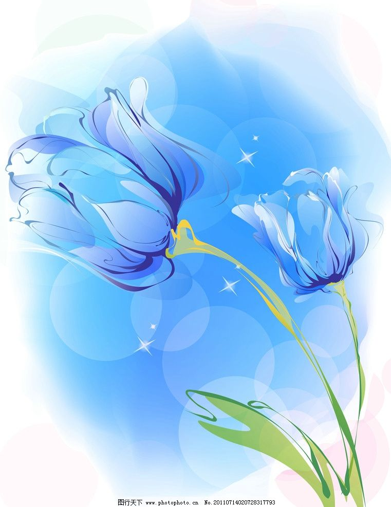 蓝色郁金香 蓝色 郁金香 移门 移门图案 底纹边框 设计 72dpi jpg