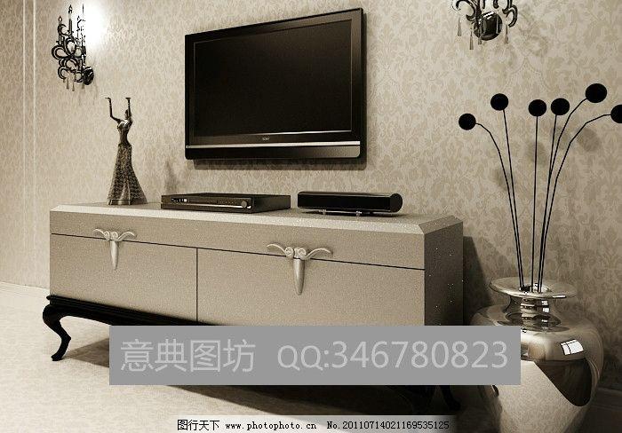 电视柜 假花 不锈钢 雕塑 壁灯 墙纸 源文件库 材质灯光齐全