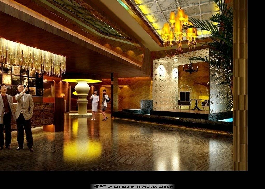 室內設計效果圖 大堂設計 吊頂 吊燈 背景墻 壁燈地磚 室內設計 環境