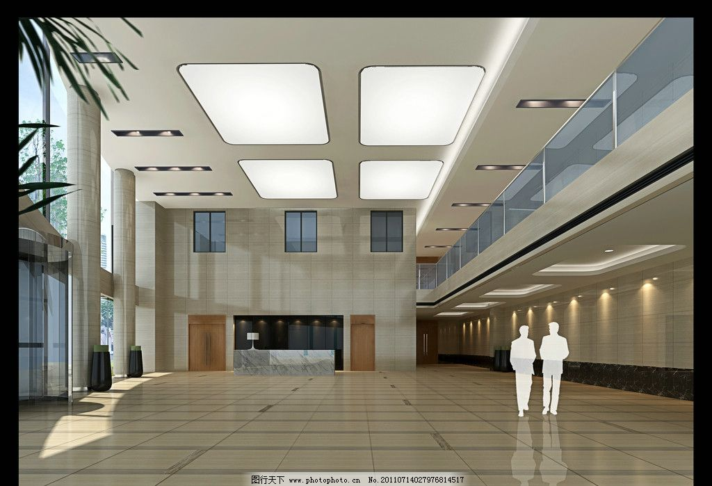办公大厅 大厅效果图 大堂效果图 办公大堂 大堂 透光膜 办公楼 写字