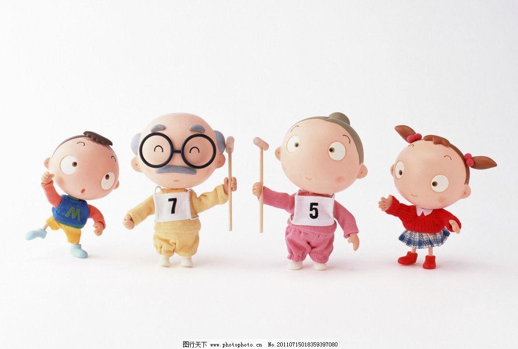 一家人 木偶 爷爷 奶奶 孩子 眼睛 胡子 红色 粉色 黄色 数字 动漫图片