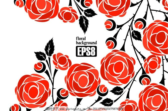 玫瑰花背景 手绘 玫瑰 红玫瑰 玫瑰花 花朵 花卉 叶子 花纹 欧式 花卡