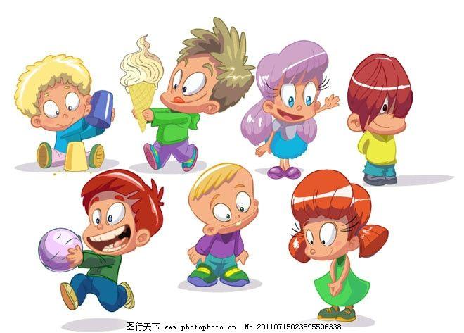 有趣的卡通儿童 孩子 男孩 女孩 小朋友 玩耍 活泼 可爱 表情