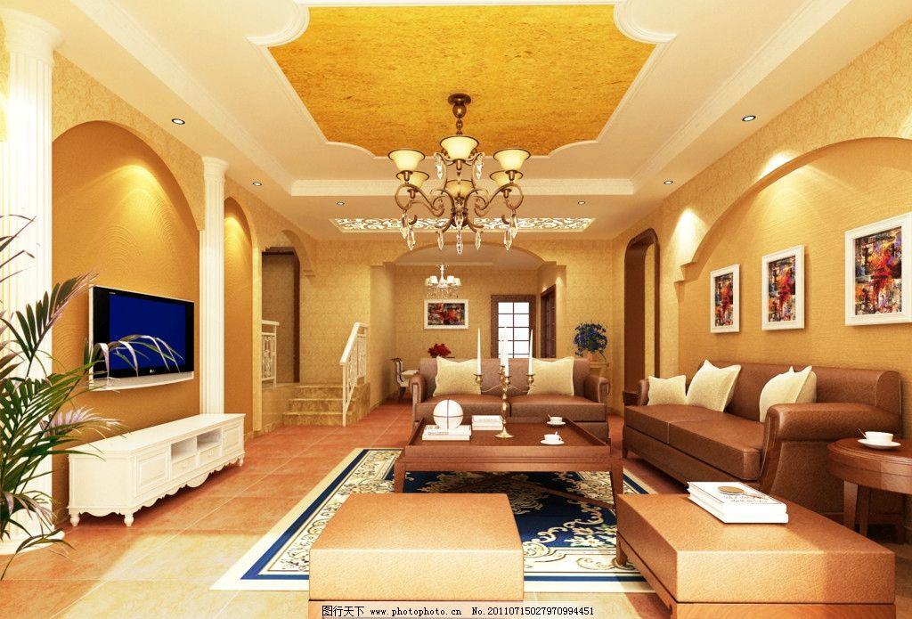 客厅效果图 欧式 罗马柱