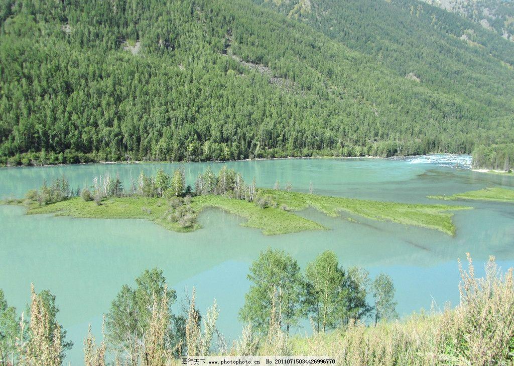 风景 绿树 湖水 波纹 水波 绿地 森林 树木 自然风景 背景