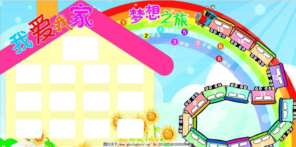 我愛我家 照片墻 卡通火車 績效墻 績效 彩虹 卡通房子 卡通花朵 展板