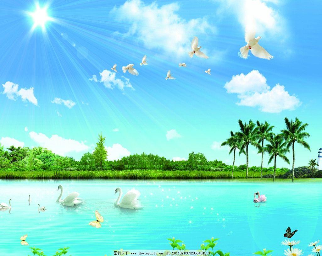 风景画 蓝天白云 和平鸽 鸽子 太阳 阳光 树木 椰子树 天鹅 蝴蝶 花