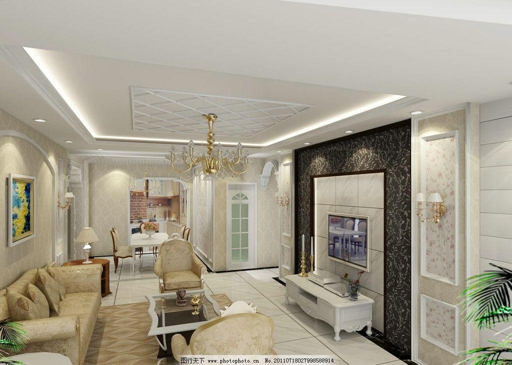 设计图库 环境设计 室内设计  欧式客厅效果图 欧式客厅 电视墙 沙发