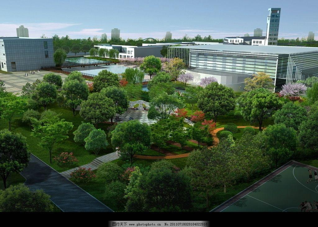 办公楼休闲区鸟瞰效果图 建筑 鸟瞰素材 园林 绿化 背景植物群