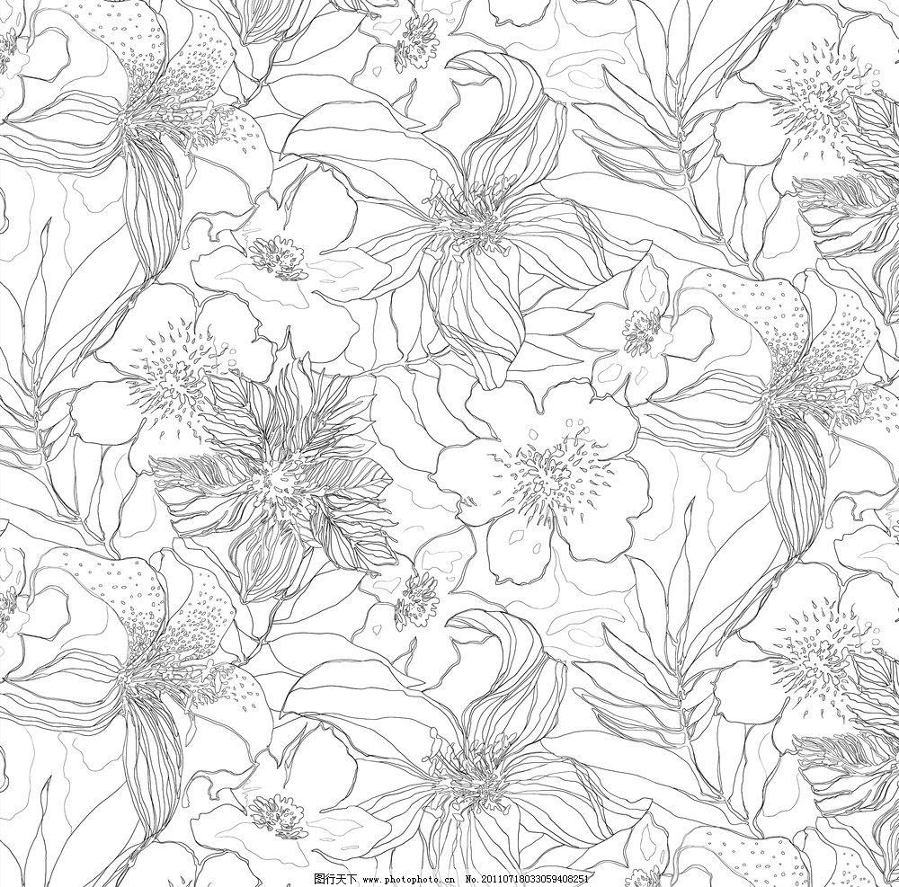 百合花开 素花线描 秋天 花园 黑白 重复 背景素材 源文件 图片描述
