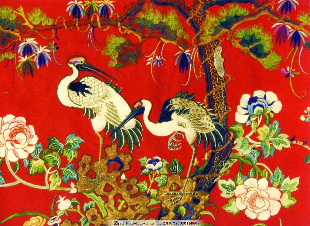 中国传统文化元素 刺绣鹤 中国鹤 鹤纹 仙鹤 传统元素 古代元素