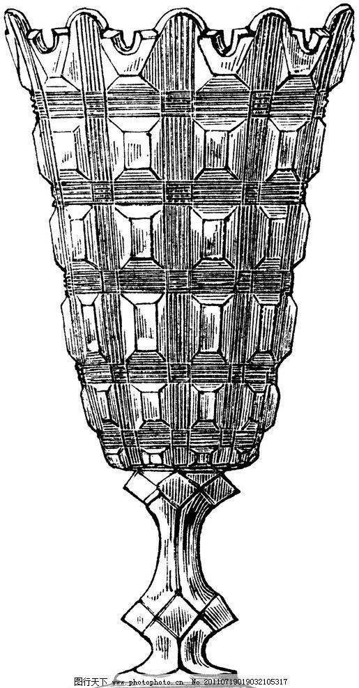 复古钢笔画 欧式花瓶 装饰纹样 绘画书法 文化艺术