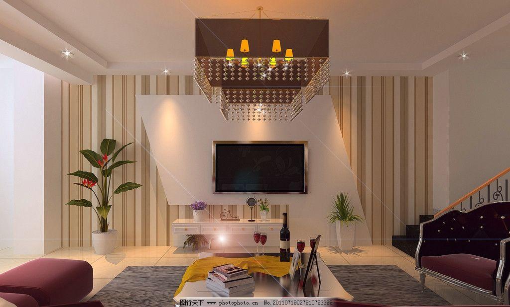 电视背景墙 电视背景 壁纸 石膏板造型 室内设计 环境设计 设计 72dpi