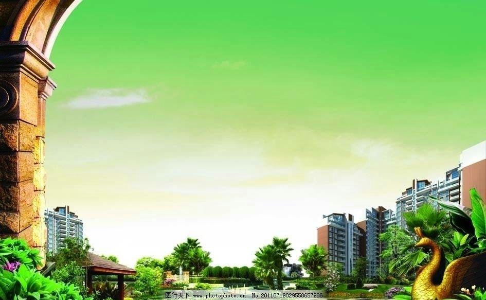 大型景观社区 社区 欧式建筑 欧式景观 绿植 水岸 树木 景观园林 天空