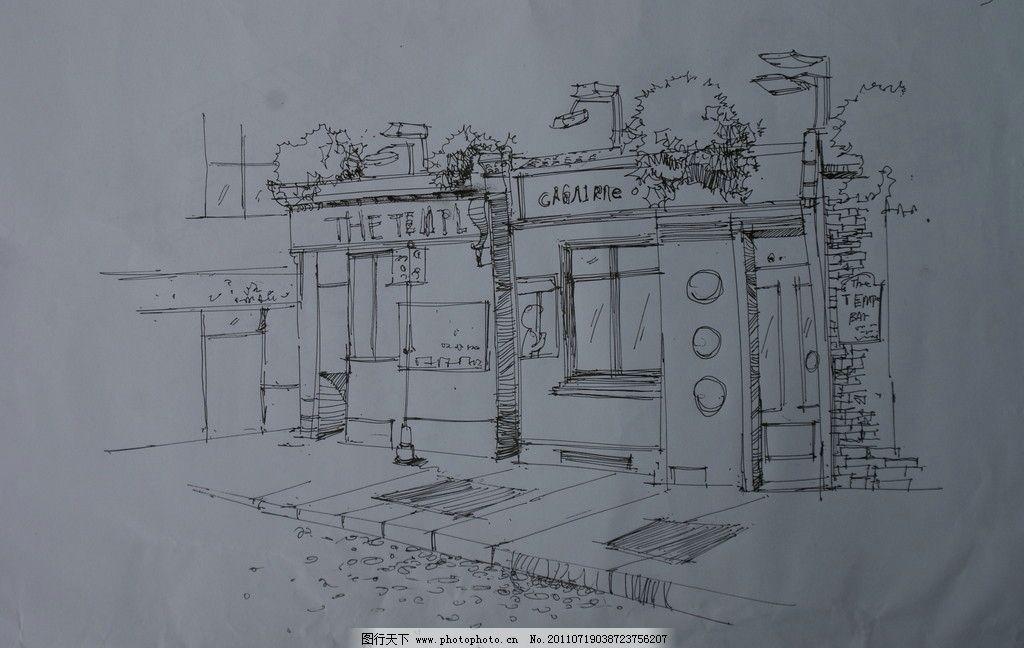茶餐厅风景速写 手绘风景插画