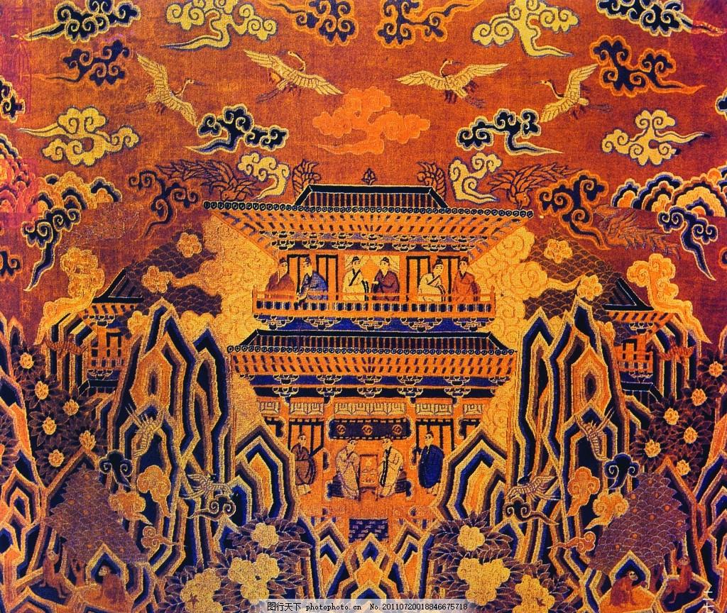 云纹 刺绣山脉 中国风 刺绣 传统人物 仙鹤 传统元素 刺绣花图 古代