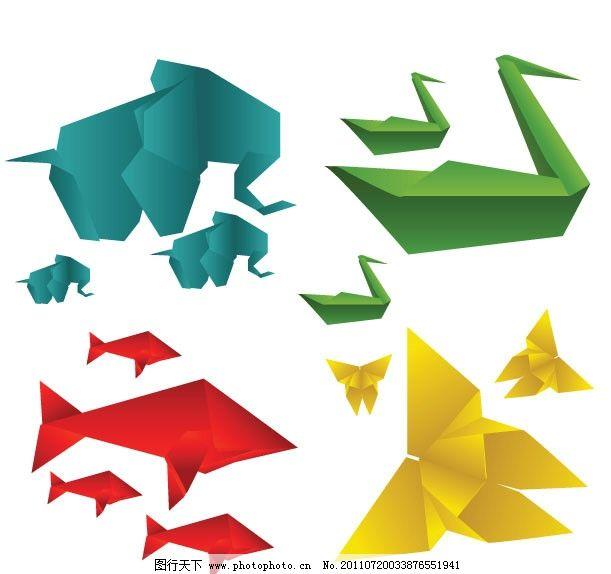 折纸卡通动物 大象 天鹅 鲨鱼 蝴蝶 矢量素材 其他矢量
