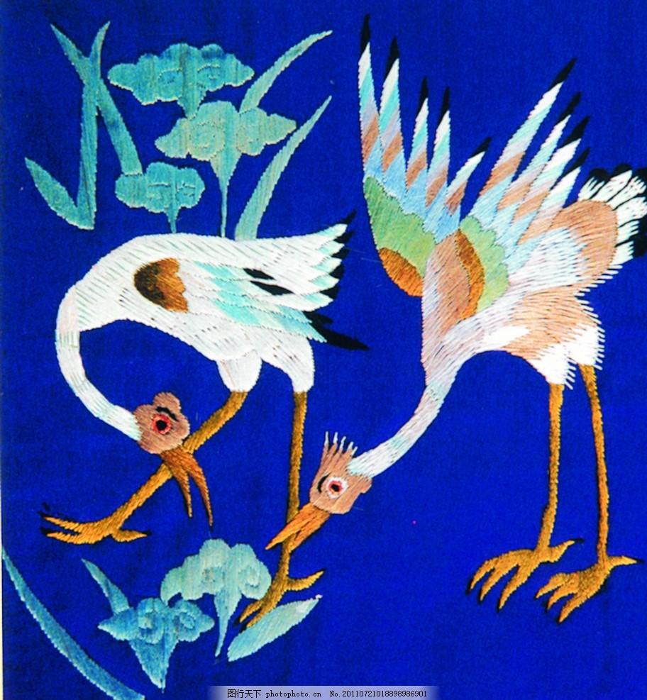 刺绣仙鹤 中国风 富贵鸟 吉祥飞禽图 锦绣图案 传统元素 古代元素
