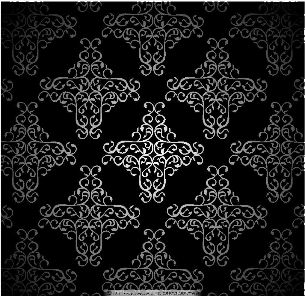 欧式古典花纹 欧式花纹 装饰花纹 欧式花纹花边 欧式黑白花纹 无缝图片