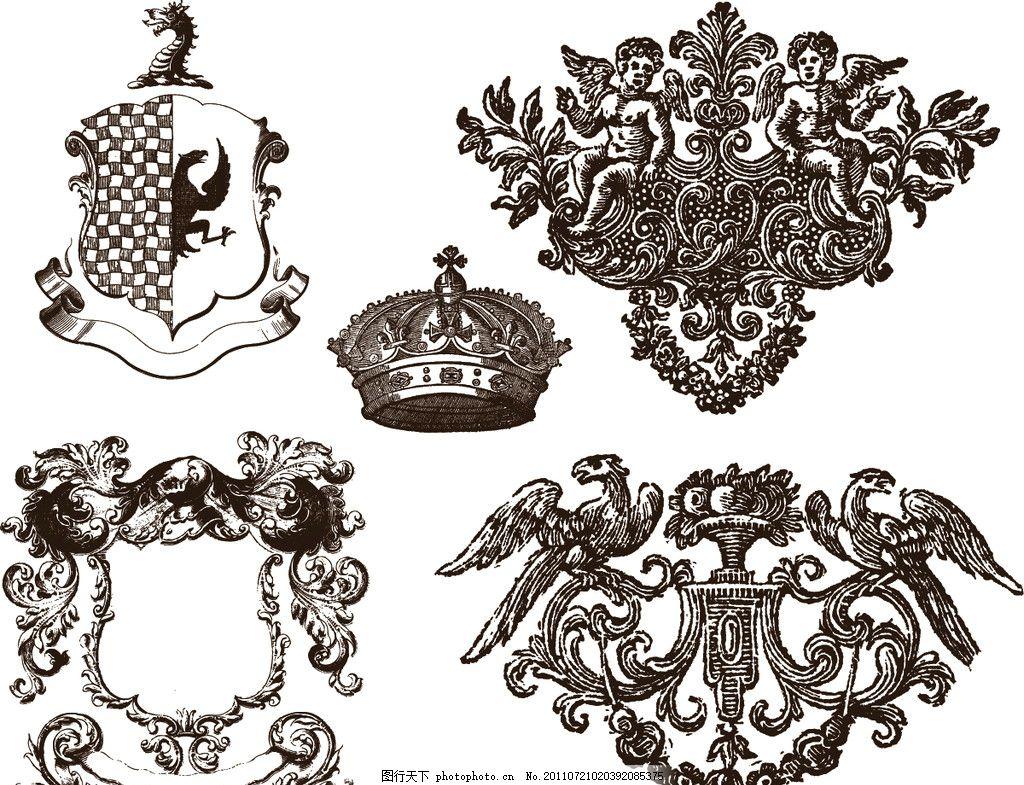 欧洲复古图案 欧洲复古元素 狮子 翅膀 图腾 老鹰 天使 骷髅 花纹