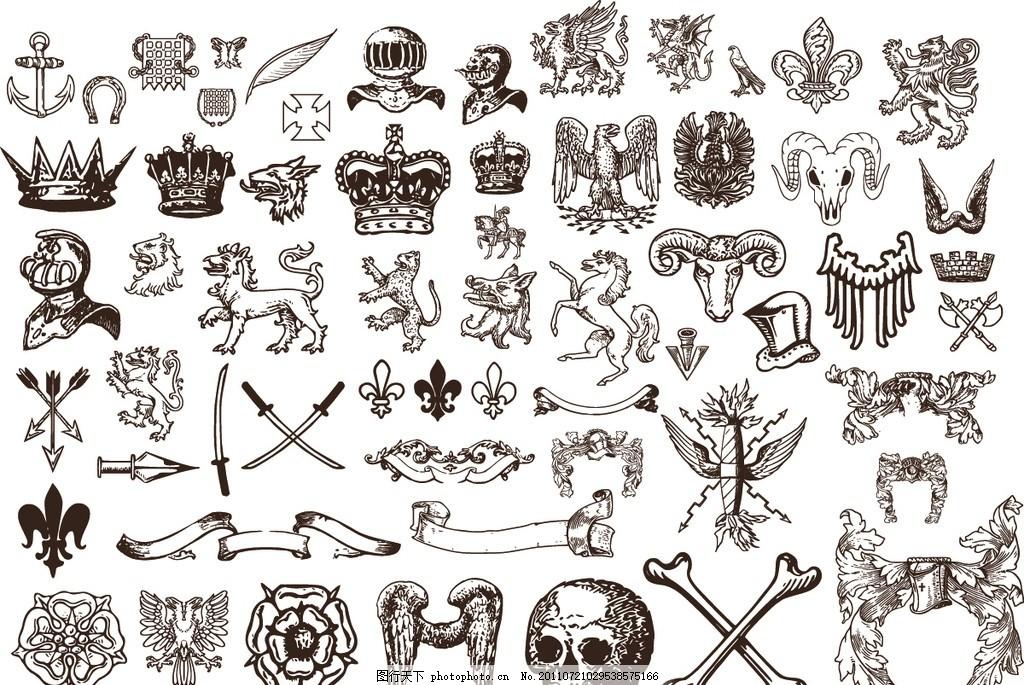 欧洲复古元素 欧洲复古图案矢量素 狮子 翅膀 图腾 骷髅 飘带 丝带