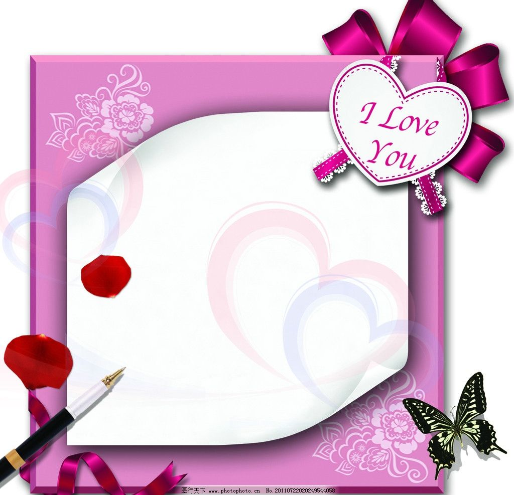 情人节 蝴蝶 花瓣 钢笔 背景底纹 底纹边框 设计 300dpi jpg