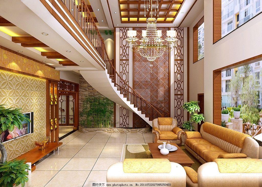 客厅效果图 室内效果图        楼梯效果图 大厅 纱发 室内设计 环境
