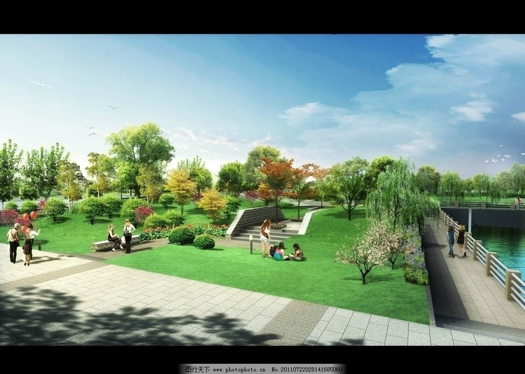 滨江公园景观效果图 建筑 鸟瞰素材 园林 绿化 背景植物群 植物后期素