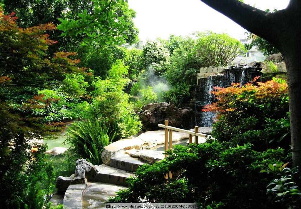公园瀑布 瀑布 流水 巨石 岩石 台阶 树丛 公园 园林 山水风景 自然