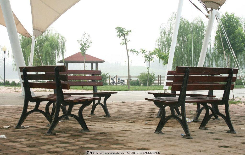 公园长椅 摄影 椅子 柳树 园林建筑 建筑园林