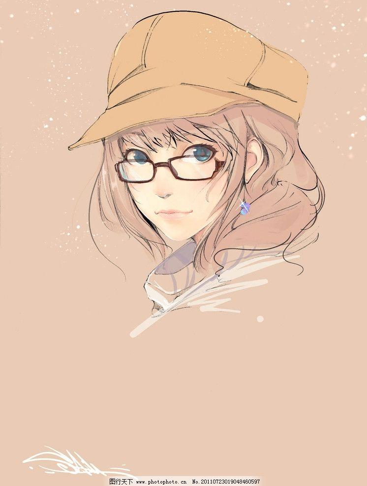 眼镜女孩 插图 卡通 手绘