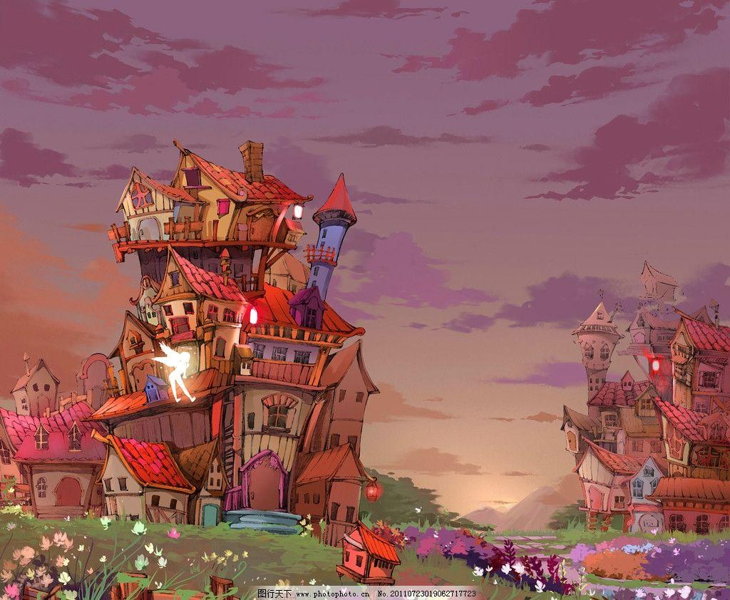 精灵城堡 插图 卡通 儿童画 趣味 手绘 城堡 精灵 童话 卡通风景 绘画