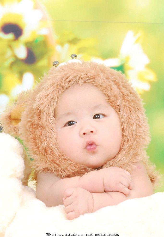 嘟嘟嘴的小狮子 宝宝 小孩 撅嘴 儿童幼儿 人物图库 摄影 300dpi jpg