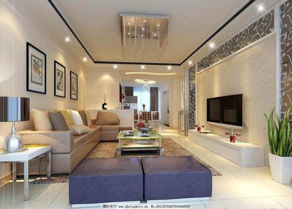 客厅效果图 客厅装饰 沙发 彩色电视机 油画