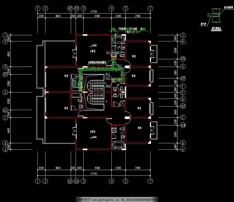 a型寓所二层给排水管道平面图图片_建筑设计_环境设计