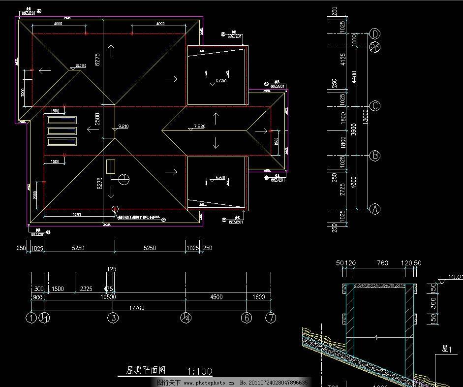 b型寓所屋顶平面图 图纸 装修 装饰 施工图 室内设计 会所 俱乐部