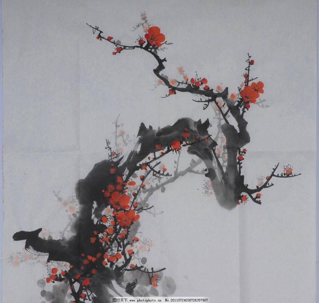 梅花 国画 水墨画 梅树 美术绘画 文化艺术 摄影 300dpi jpg