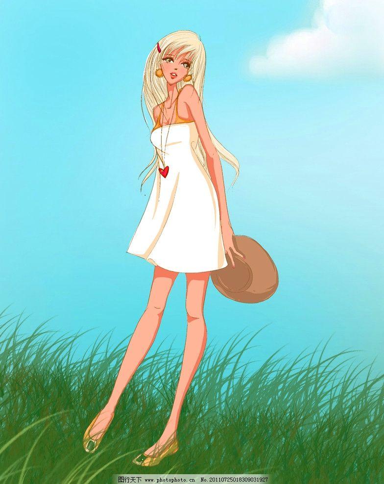 素材 设计 杂志 儿童读物 绘本 手绘 白衣 少女 性感 女孩 人物 动漫