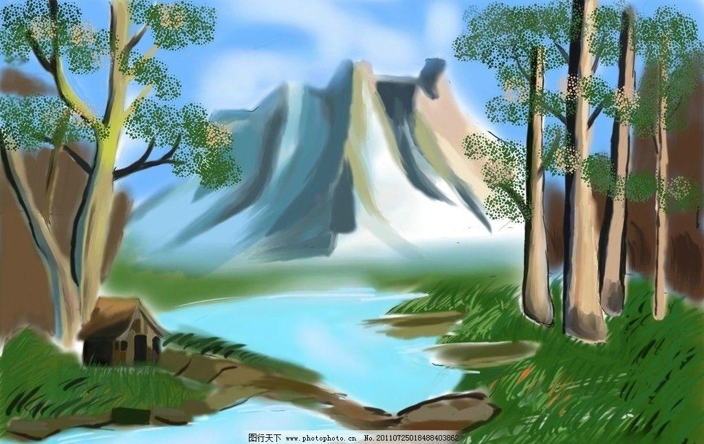 手绘 树林 背景 溪水 大山 石头 天空 雪 风景漫画 动漫动画 设计 300