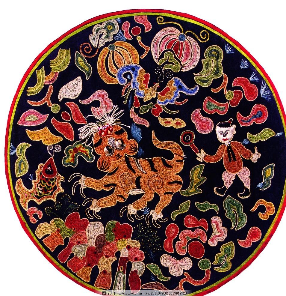 可爱老虎 刺绣老虎图 彩色云纹 刺绣儿童 吉祥动物 中国风 海浪
