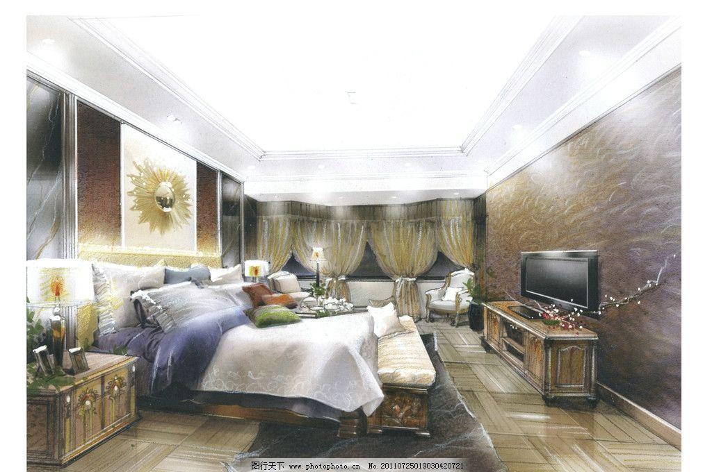 男卧室 欧式古典风格 古典双人床 床柜 手绘效果图 绘画书法 文化艺术
