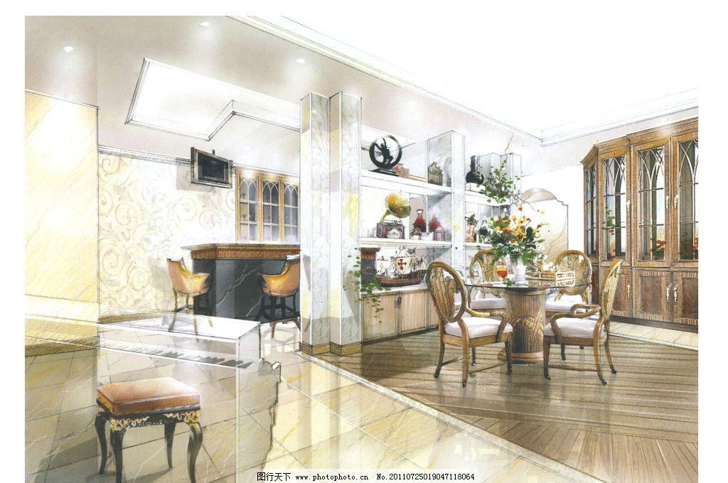 地下室 欧式古典风格 餐桌 餐椅 壁橱 绘画书法 文化艺术 设计 300dpi