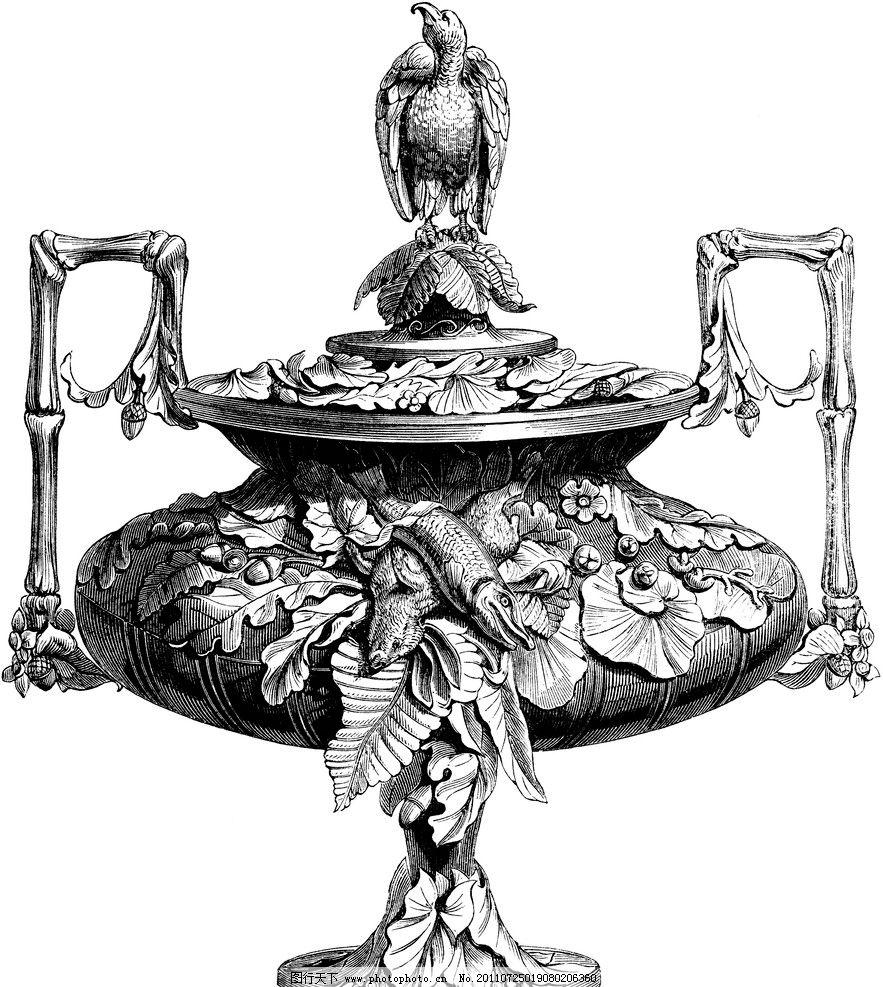 复古钢笔画 复古 钢笔画 欧式花瓶 叶子纹样 装饰纹样 绘画书法 文化图片