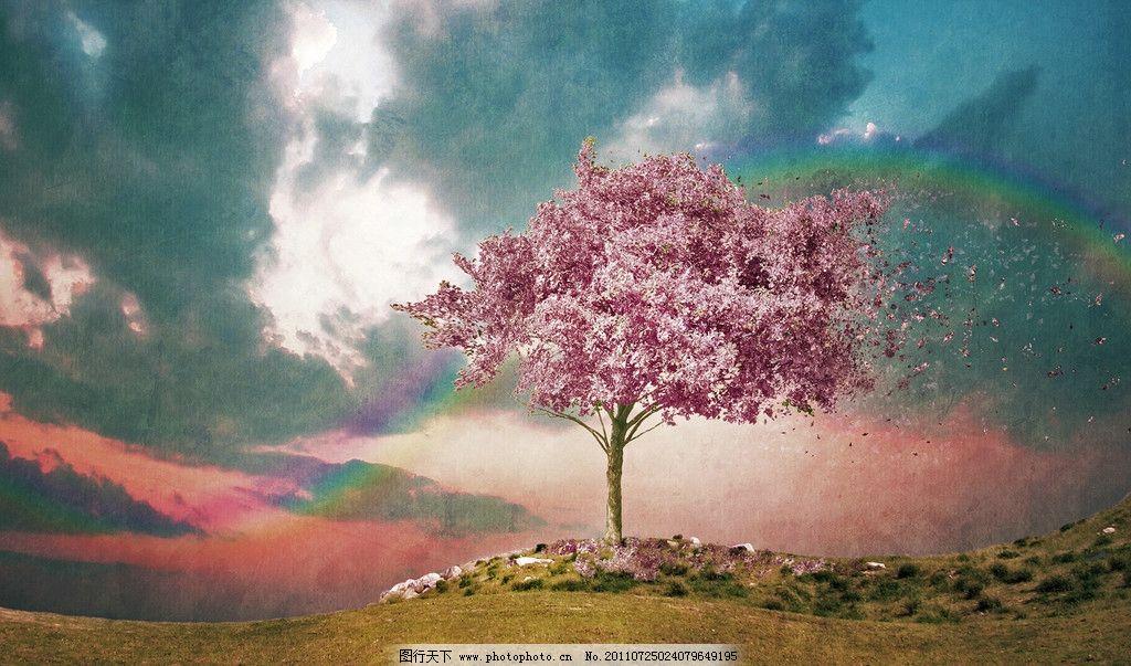 树叶飘飞 树叶 彩虹 草地