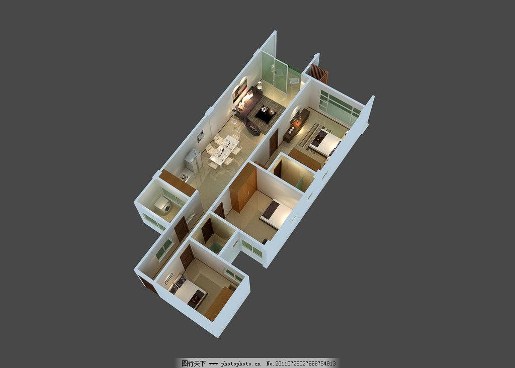 户型鸟瞰 户型图 室内透视图 户型鸟瞰图 别墅设计 现代设计 室内效果