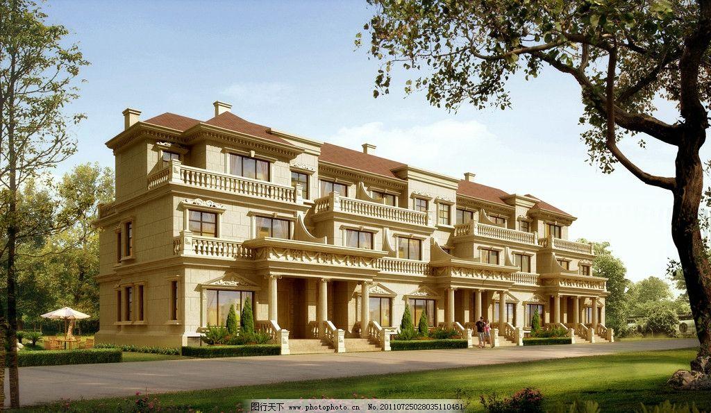 别墅透视效果图 建筑楼 透视图 洋房 房子