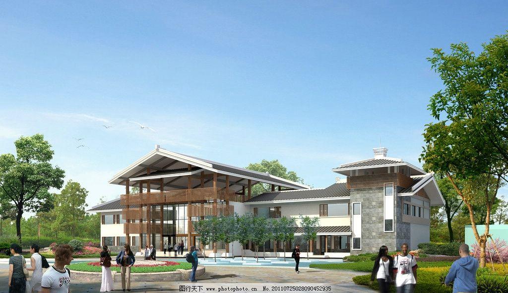 厂区办公楼 景观园林设计 园林景观效果图 房地产园林景观 房地产设计