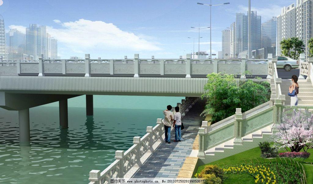 滨河步道绿化 桥 滨河 步道 绿化 踏步 源文件库 景观设计 环境设计