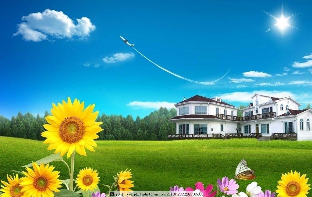 蓝天白云别墅 蓝天 白云 草地 飞机 别墅 向日葵 花朵 蝴蝶 树 风景